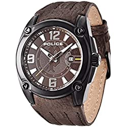 Police Adventure Men's Quartz Watch with Brown Dial Analogue Display and Brown Leather Strap 13891JSB/12