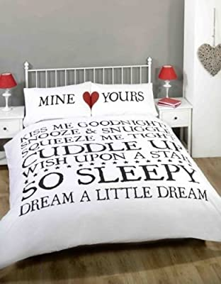Bedding Heaven MINE & YOURS Duvet Cover Print Quilt Cover. White/Black/Red Double