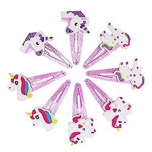 CDKJ 8pcs Haarklammer für Mädchen Einhorn Mädchen Haar Clips Haarspangen Barrettes