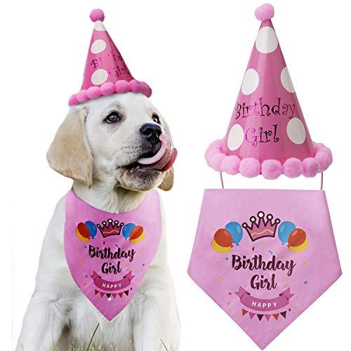 LUTER Hund Geburtstag Bandana Dreieck Schals niedlichen Hund Geburtstag Partyhut Happy Birthday Boy Print für Hund oder Welpe Geburtstag Dekor (Pink)
