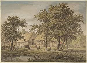 Adrianus de Visser – Landscape with a Farmhouse Impression d'art Print (45,72 x 60,96 cm)