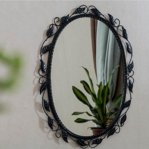 Espejo pueblo americano retro ¿Antiguo de Hierro redondo negro simple espejo decorativo espejo para maquillarse espejo del baño para colgar en la pared de Espejo vestidor entrada redonda Bienvenido ( Color : negro , Tamaño : 45cm*60cm )
