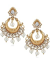 Meenaz Wedding Bridal Traditional Gold Pearl Kundan Jhumka Jhumki Earrings For Women Girls Party Wear Stylish...