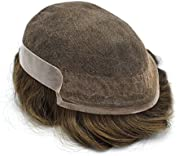 Super Thin French Lace Front Mens Toupee Poly Coating Hairpiece Bleached Human Hair Systems