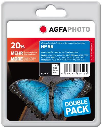AgfaPhoto APHP56BDUO Tinte für HP DJ5550, 48 ml, schwarz