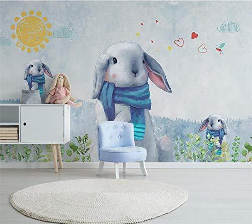 L22LW Wandbild Die Wallpaper 3D Wandbilder Nordic Modernen Minimalistischen Hand Bemalt Der Schönen Hase Kinder Zimmer Hintergrundbild Wandbilder, 350 cm * 256 cm (H)