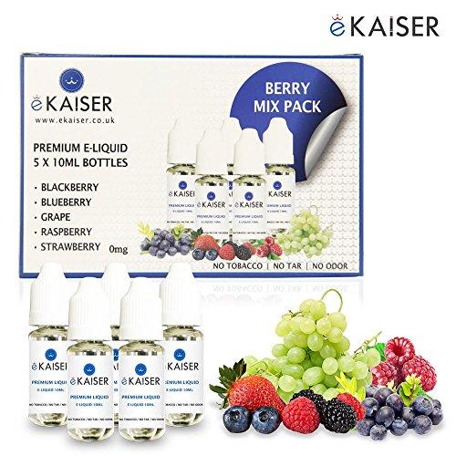 E-zigarette Refill-pack (Ekaiser 5 X 10ml E-Liquid Beeren Mix | Blaubeere | Brombeere | Himbeere | Traube | Erdbeere | Spezielle Formel für Dampfentwicklung mit hochwertige Zutaten | Hergestellt für E-Zigaretten E-Shisha)