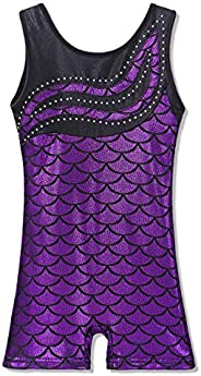 Leotard for Girls Gymnastics Toddler Biketards Shorts Shiny Scale Diamond Kids Dancewear