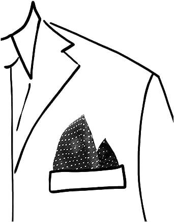 tessago Pochette da taschino per giacca/abito 100% Poliestere colore nero con pois spillo bianco misura cm 30 x 30 made in