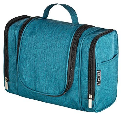 B.PRIME Kulturbeutel Classic XL Deep Blue - Premium Kulturtasche mit extra viel Stauraum zum Aufhängen - Maße der Waschtasche 28x13x22cm