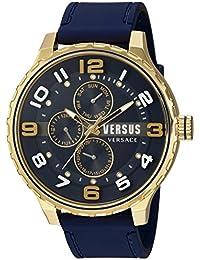 amazon co uk versus versace watches versus by versace men s globe quartz stainless steel and rubber casual watch color blue model sba110015