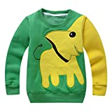 Mädchen Jungen Jumper Strickpullover - Juleya Kinder Langarm mit Elefant druckt Sweatshirt Warm Jumper Pullover Kleidung Herbst und Winter Sweatshirt T-Shirt Top Outfits für 1-5 Jahre Grün / Schwarz