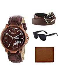 Zesta Analogue Brown Dial Leather Strap Watch with Wallet, Belt and Sunglass Set for Men & Boys