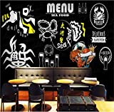 Ponana Papel Tapiz 3D Negro Blanco Cangrejos Cangrejos Mariscos Graffiti Mural 3D Tema Creativo Olla Caliente Barbacoa Tienda Bar Restaurante Papel TapizB-250X175Cm