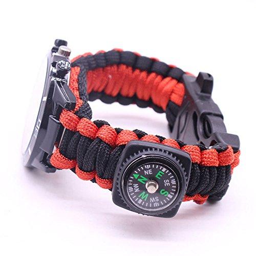 Imagen de zwbfu 5 en 1 pulsera de paracord reloj de supervivencia al aire libre con brújula/inicio de fuego/silbato/kits de herramientas de supervivencia de paracord