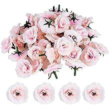 50pcs Cabezas de Rosa Flores Rosa Artificiales en Seda para Manualidades Decoración de Boda Fiesta Hogar (Rosa clara)