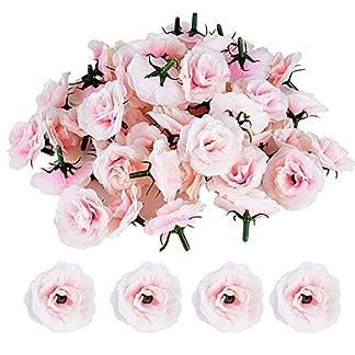 JNCH 50pcs Cabezas de Rosa Flores Rosa Artificiales en Seda para Manualidades Decoración de Boda Fiesta Hogar Jarrones (Rosa Clara)