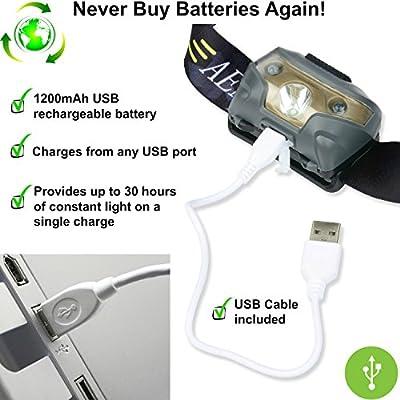 USB Wiederaufladbare LED Stirnlampe Akku - Sehr hell, leicht und bequem, leicht zu benutzen - Perfekt Kopflampe fürs Joggen, Gehen, Campen, Lesen, Wandern, für Kinder, fürs Heimwerken und mehr, inklusive USB Kabel von Aennon