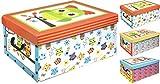 3er Set Aufbewahrungsbox in 3 Farben und Eulen Dekor mit jeweils 45 Liter Inhalt - Deko Box Eule