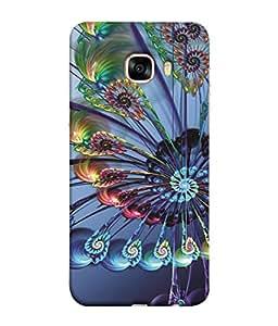 PrintVisa Spiral Blue Pattern 3D Hard Polycarbonate Designer Back Case Cover for Samsung Galaxy C7 Pro