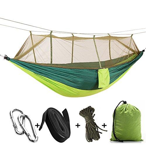 FGKING Camping Hängematte mit Moskitonetz, hängende Schaukel Single Double Leichtgewicht Nylon Hängematte Outdoor Backpacking Travel Beach Gear. (Spinning Ring Gear)