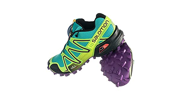 Salomon Speedcross 3 Teal BlueGranny Green & Quicklace Bundle Running Shoes