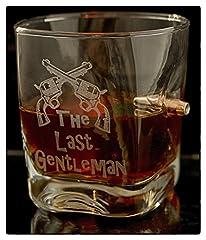 Idea Regalo - Regalo per Uomini Bicchiere da Whisky con calibro proiettile reale 308 e gratuito- Incisione- The Last Gentleman-