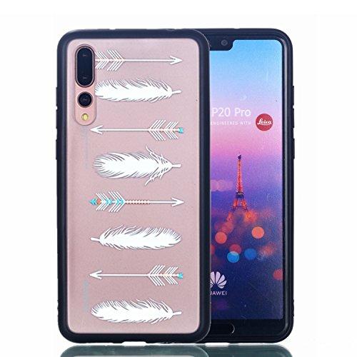 Preisvergleich Produktbild Hülle für Huawei P20 Pro Silikonhülle Dünn, 2 in 1 Premium Matt TPU Case Transparent Handyhüllen Ultra Slim Cover Bumper-Style TPU mit von Relief Muster für Huawei P20 Pro Case Cover + Schlüsselanhänger ( S ) (2)