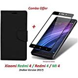 Like It Grab It Redmi 4 Flip Cover - For Luxury Mercury Diary Wallet Style Black Flip Cover Case For (Redmi 4 - May 2017 Launch) Redmi 4 Flip Cover + Premium 2.5D Curved 9H Hardness Tempered Glass Screen Protector (Black-Black)
