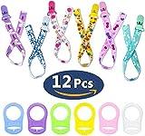 12 Chupetes de Clip Bebé con Anillo de Silicona Adaptador, Cadenas para Chupetes Chupetero Bebé Clips con Adorable Diseño, Unisex Dseño para Chicos y Chicas JAANY