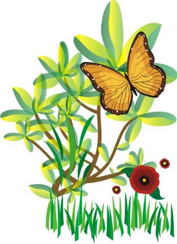 T-Shirt E069 Schönes T-Shirt mit farbigem Brustaufdruck - Logo / Comic - schönes Pflanzenmotiv mit Schmetterling und kleinen Blüten Weiß