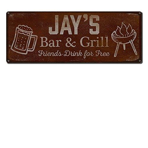 My Beer Cozy Personalisierte Barbeque Sie mit Ihrem Namen Bar & Grill mit gratis Glas mit 6x 16-24-gauge ~-Zubehör und Dekoration, mit USA hergestellt mit BBQ rustikale, Vintage, mit Jay