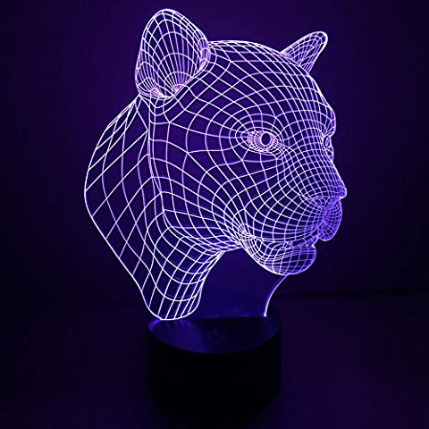 3D Illusion Lamp jawell Night Light Léopard 7 Changing Colors Touch USB Table Nice Gift Toys Decorations