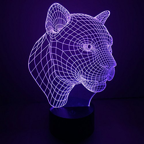 3d Illusion Lamp jawell Night Light Leopard 7Changing Colors Touch USB Table...