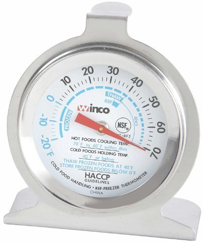 Winco Dial Refrigerator/Freezer Thermometer with Hook and Panel Base, 2-Inch by Winco -