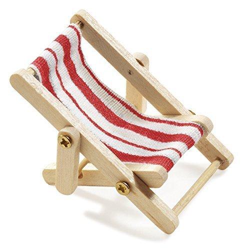 Preisvergleich Produktbild Miniliegestuhl 5 x 3,5 cm rot/weiß