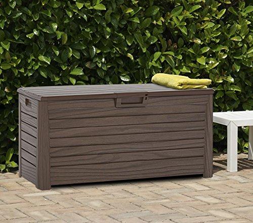 XL Toomax Kissenbox #Z155 Florida braun 550 Liter Inhalt Holz Optik - mit Sitzfläche 350 kg Tragkraft - absolut wasserdicht - abschließbar -