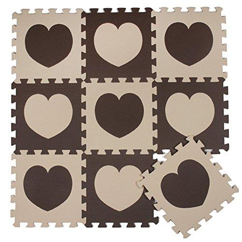 ZZYY Spielmatte Puzzle Beige and Braun Herz Kinderspielteppich Baby