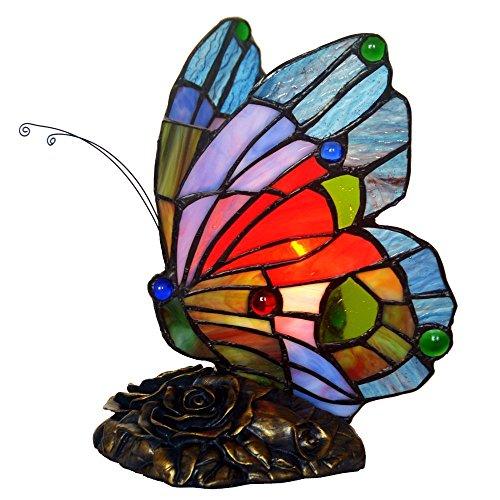Bieye L30042US 8 Zoll Schmetterling Tiffany Stil Glasmalerei Akzent Tischlampe Nachtlicht für Nacht Schlafzimmer Wohnzimmer Couchtisch, blau rot -