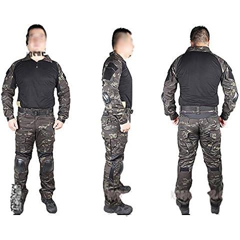 Hombres ejército militar para airsoft y paintball (diseño war-game Disparo Gen2G2táctico BDU Combate Uniforme camisa & Pantalones Traje con protector de coderas y rodilleras Typhon Kryptek, color Typhon Kryptek, tamaño M