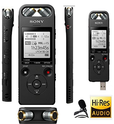 Sony Professional ICDSX2000 Digital Voice Recorder 16GB Memory Built in with Bluetooth remote and High Resolution recording and External Lavier Microphone (ICD-SX2000 , New Model of ICDSX1000)