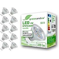 10x Spot LED greenandco® GU10 4W (corresponde a 30W) 320lm 2700K (blanco cálido) SMD LED 120° 230V AC