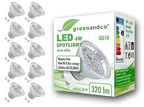 10x greenandco® LED Spot ersetzt 30 Watt GU10 Halogenstrahler, 4W 320 Lumen 2700K warmweiß SMD LED Strahler 120° 230V AC Glas mit Schutzglas, nicht dimmbar, 2 Jahre Garantie