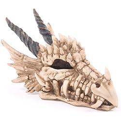 DRW - Hucha calavera dragón, de resina 11 x 11 x 19 cm