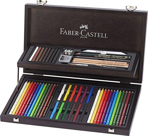 Faber-Castell 110088 - Estuche de madera de 24 piezas con equipo básico de las 3 gamas, lápices de colores polychromos, tizas, grafitos y accesorios