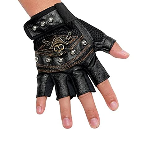 INRED Men's Studded Faux Leather Mesh Punk Gothic Hip-hop Fingerless Inred Skull Gloves