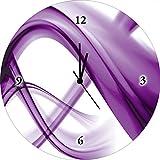 Artland Wand-Analog-Funk-Quarz-Uhr Digital-Druck auf Echt Glas mit Motiv Benedict Bocos Abstrakte Komposition (violett) Abstrakte Motive Gegenstandslos Digitale Kunst Lila A6GA