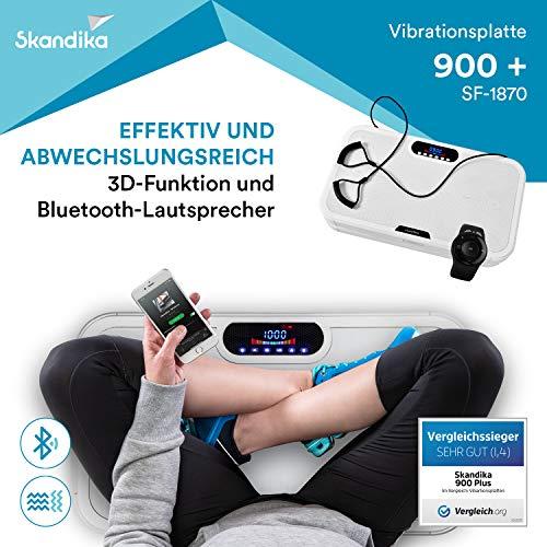 skandika 900 Plus Vibrationsplatte, 2 Kraftvolle Motoren mit 3D Wipp Vibrations, 120 Intensitätsstufen, Bluetooth-Musik, Trainingsbänder und Fernbedienung und A1 Übungsposter, Weiß