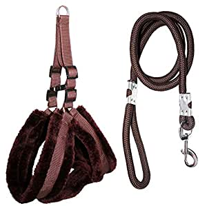 Petshop7 Premium Qualtiy Fur Padded Nylon Dog Harness & Leash Rope 0.75 inch - Small (Chest Size - 23-28inch) Brown