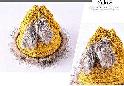 Multi-function Hat&Scarf Trendy Warm Chunky Soft Knit Slouchy Beanie Scarves yellow